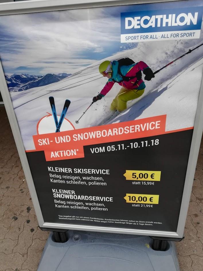 [Decathlon] Ski Service - Kanten schleifen & Wachsen 5Eur // Snowboard 10Eur