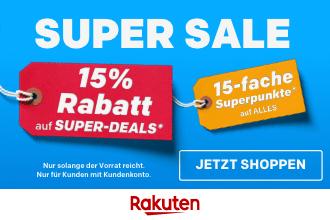 Rakuten Super Sale: 15% Rabatt auf Millionen Artikel + 15-fache bzw. 18-fache Superpunkte auf alles
