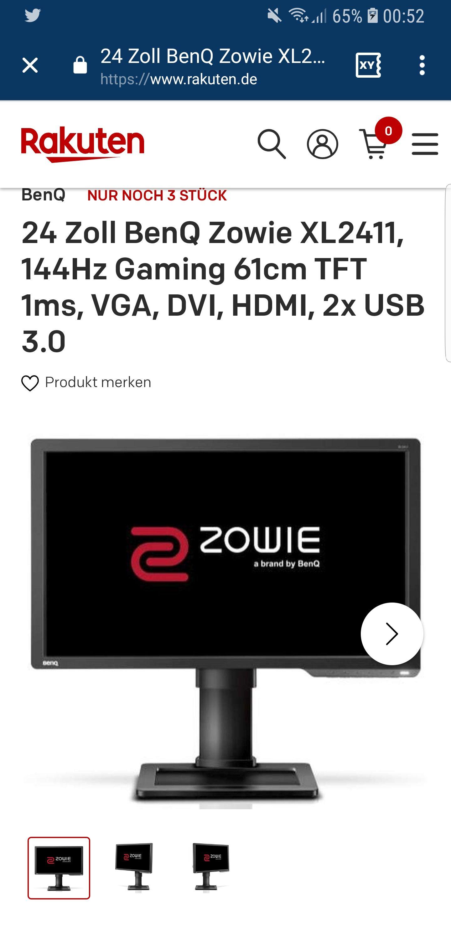 24 Zoll BenQ Zowie XL2411, 144Hz Gaming 61cm TFT 1ms, VGA, DVI, HDMI, 2x USB 3.0