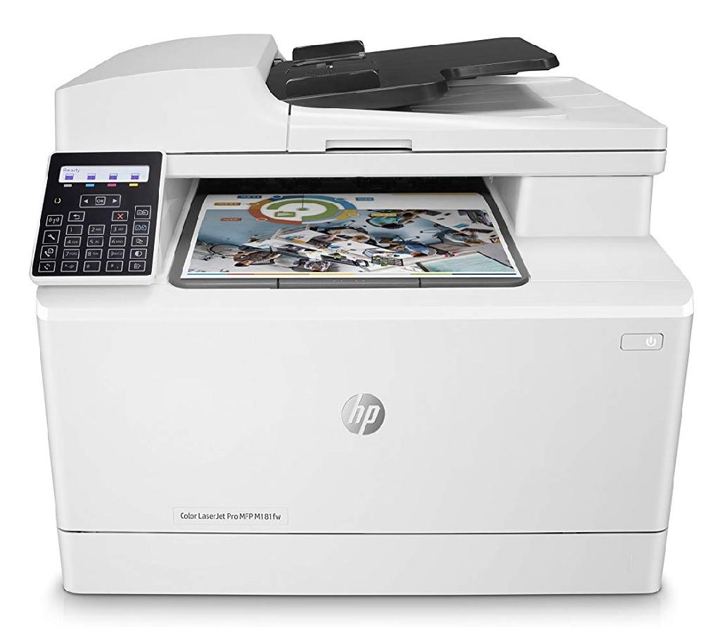 HP Color Laserjet Pro M181fw Multifunktions-Farblaserdrucker (Drucker, Scanner, Kopierer, Fax, WLAN, LAN, Airprint) weiß