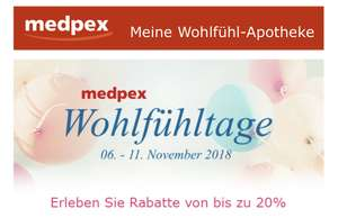 [Medpex Versandapotheke] 10%-20% Rabatt auf bestimmte Kategorien