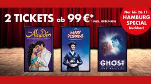 [Stage - Hamburg] DISNEYS ALADDIN / MARY POPPINS / GHOST | 2 Tickets ab 99€ + womöglich noch 5 % über Shoop