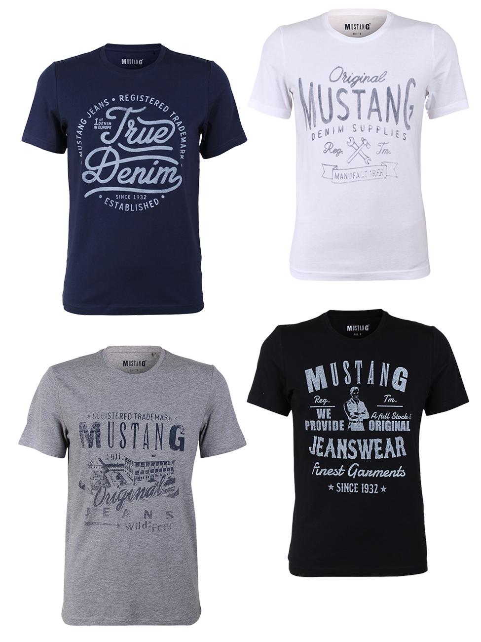 4x Mustang Herren T-Shirt mit Frontprint und Rundhalsausschnitt aus reiner Baumwolle