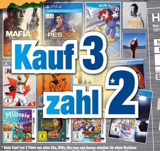 [Lokal expert Octomedia Bühl] Kauf 3 Zahl 2 auf alle PS4-, Xbox One-, Switch-, PC-, 3DS-Games, Blu-Rays, DVDs und CDs
