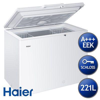 Haier Gefriertruhe HCE221T EEK A+++ mit Türschloss und Innenbeleuchtung 221L