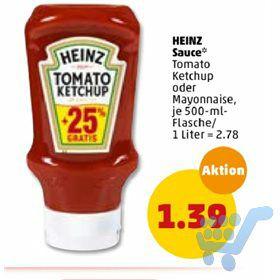 Heinz Tomato Ketchup PET-Flasche Kopfsteher (+25%) 500ml (-0,45€ Marktguru Cashback) @Penny