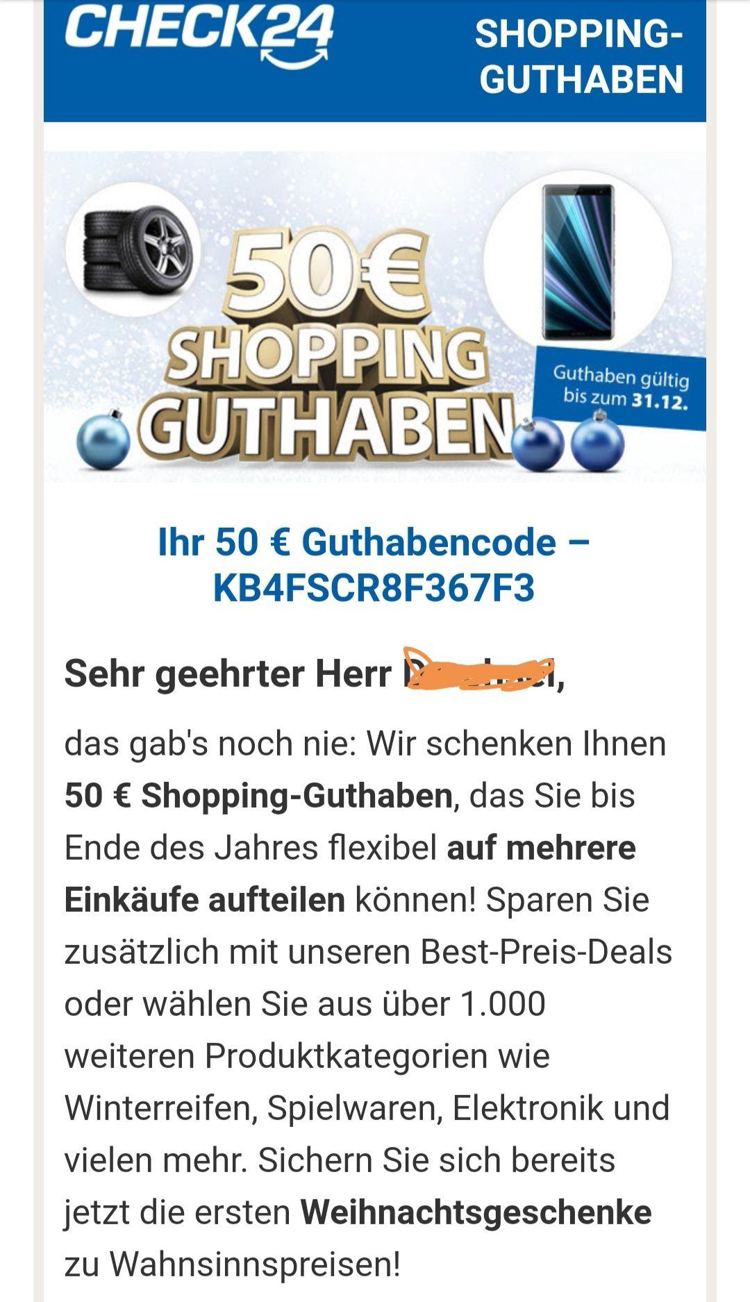 Check24 Shopping bis 50€ Gutscheincode gestaffelt bis 31.12.2018