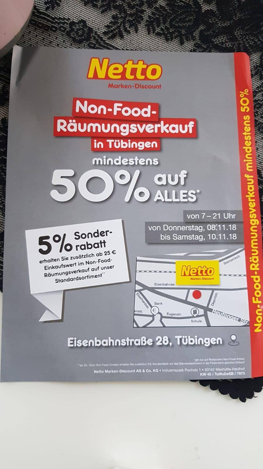 [Lokal Tübingen] Räumungsverkauf Netto, 50% auf alle Non-Food Produkte