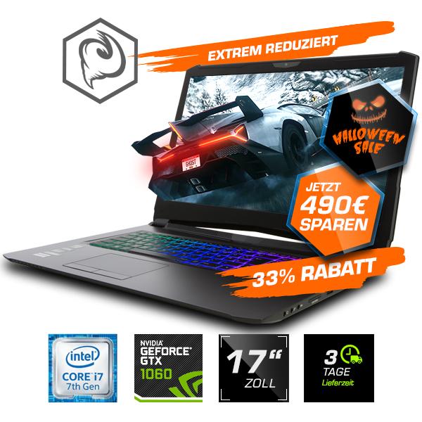 "Guru Storm KS Gaming Laptop (17,3"" FHD IPS, i7-7700HQ, GTX 1060 6GB, 16GB DDR4 Ram, 250GB m.2 SSD, 60Hz, G-Sync, WLAN ac, Aluminium Gehäuse)"