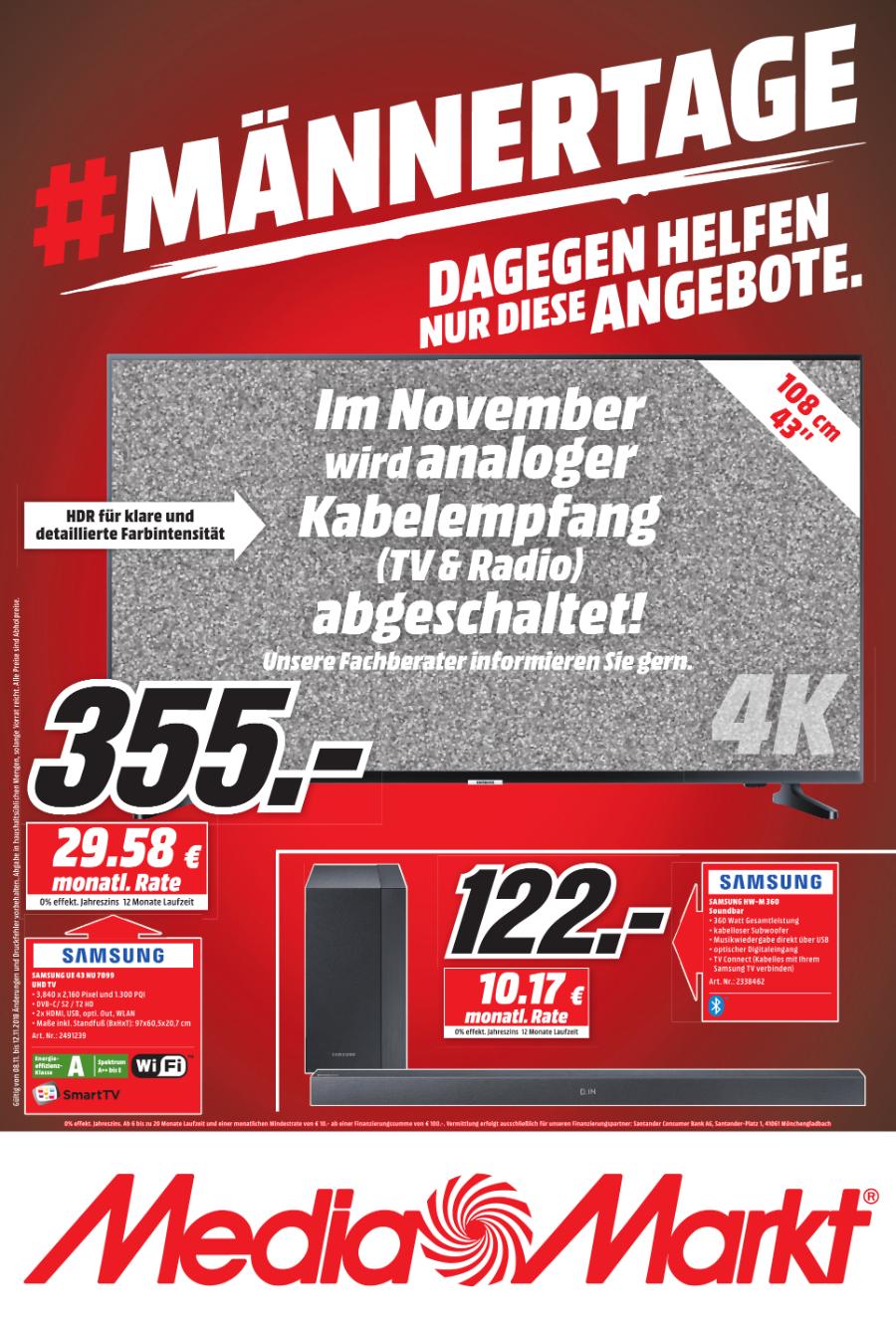 [LOKAL-Berlin] Samsung NU7099 108 cm (43 Zoll) LED Fernseher (Ultra HD, HDR, Triple Tuner, Smart TV)