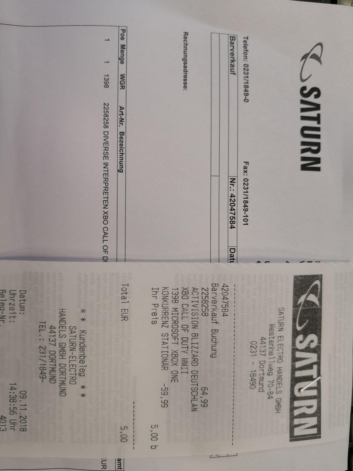 Lokal Saturn Dortmund Call of Duty WW2