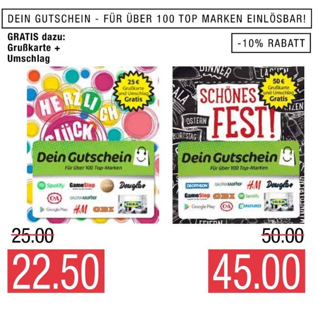 [Marktkauf Nord] 10% Rabatt auf DeinGutschein z.B. auf MediaMarkt, Saturn, Conrad, Ikea u.v.m Guthaben