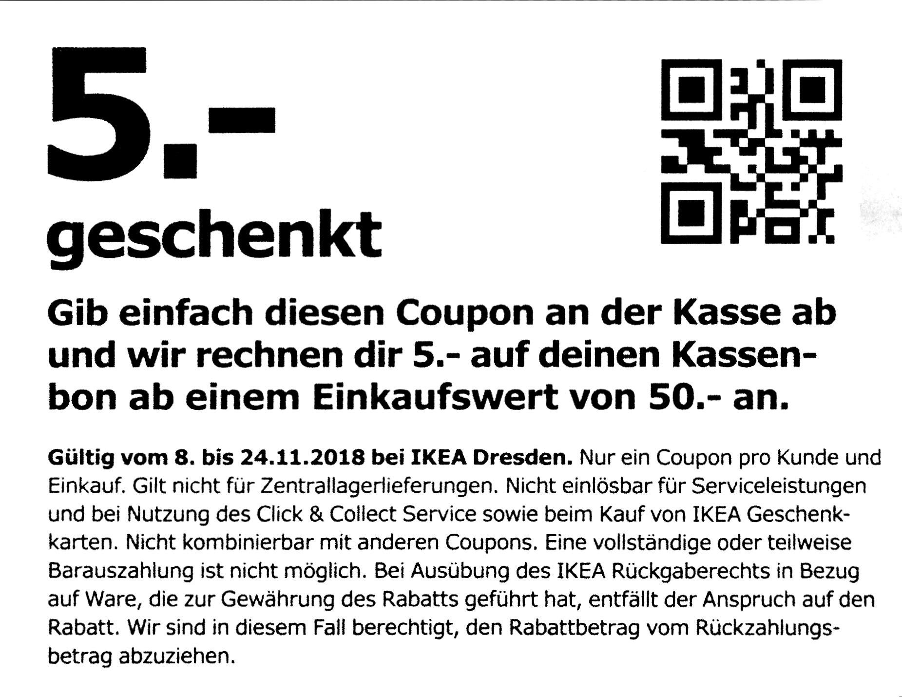 [Ikea Dresden] 5€ Gutschein bei 50€ EW