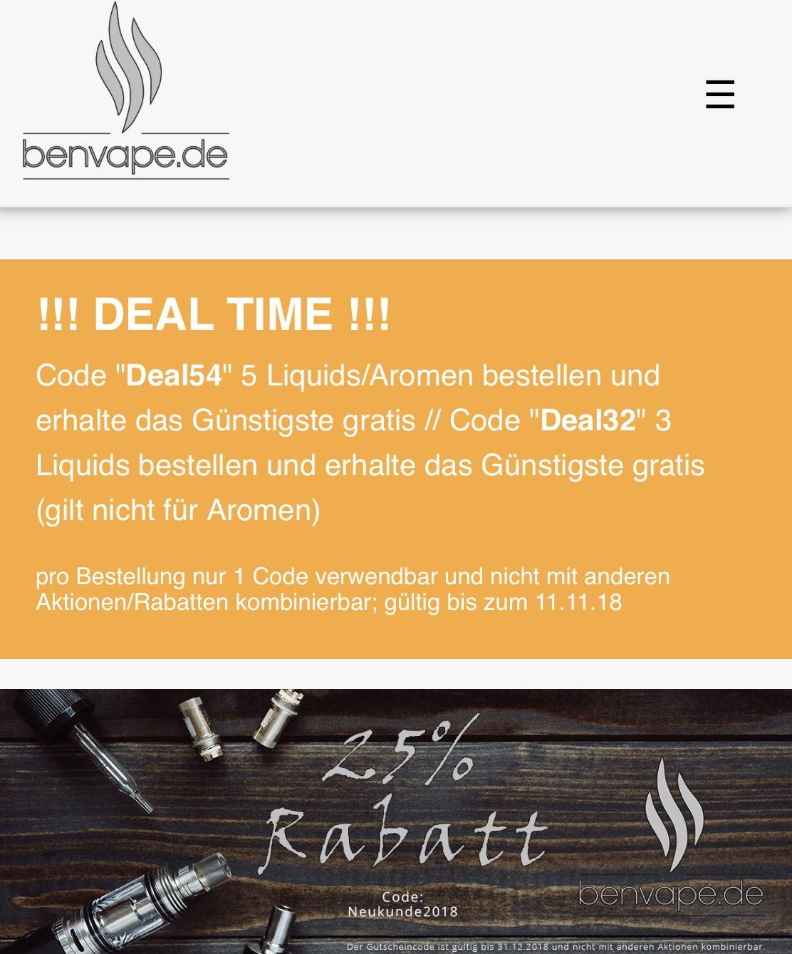 Benvape - 5 Liquids/Aromen kaufen, das Günstigste gratis erhalten