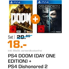 DOOM (Day One Edition) + Dishonored 2 (PS4) für 18€ [Saturn]
