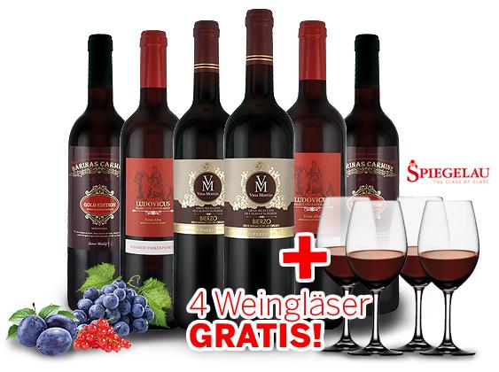 SPANIEN Genusspaket mit 6 Flaschen Rotwein + 4 Spiegelau Gläser für 49,99€