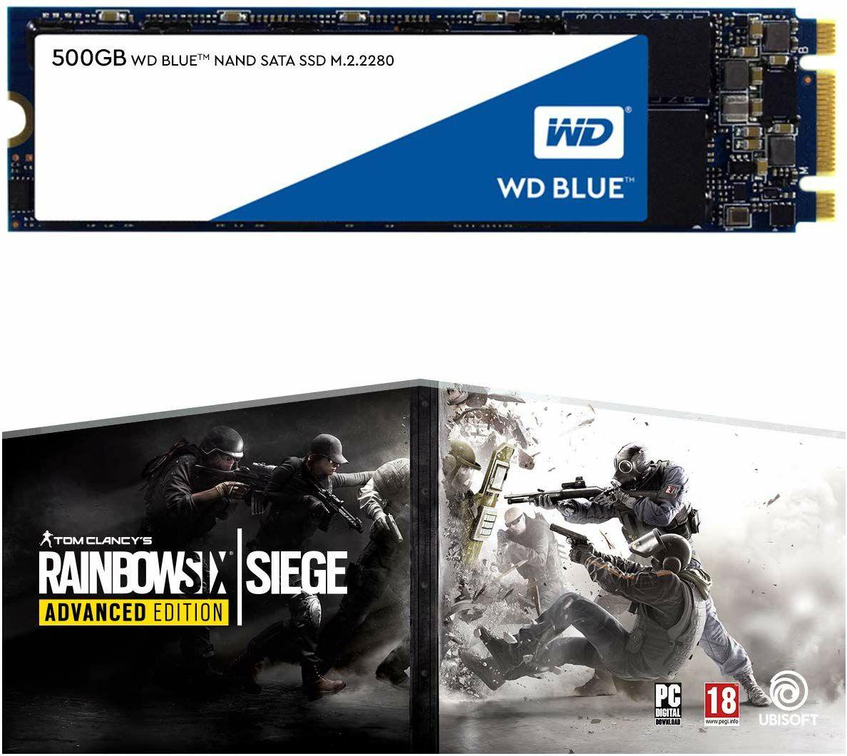 Western Digital Blue interne SATA SSD M.2 - 500GB + Tom Clancy's Rainbow Six: Siege Advanced Edition (Amazon.it)