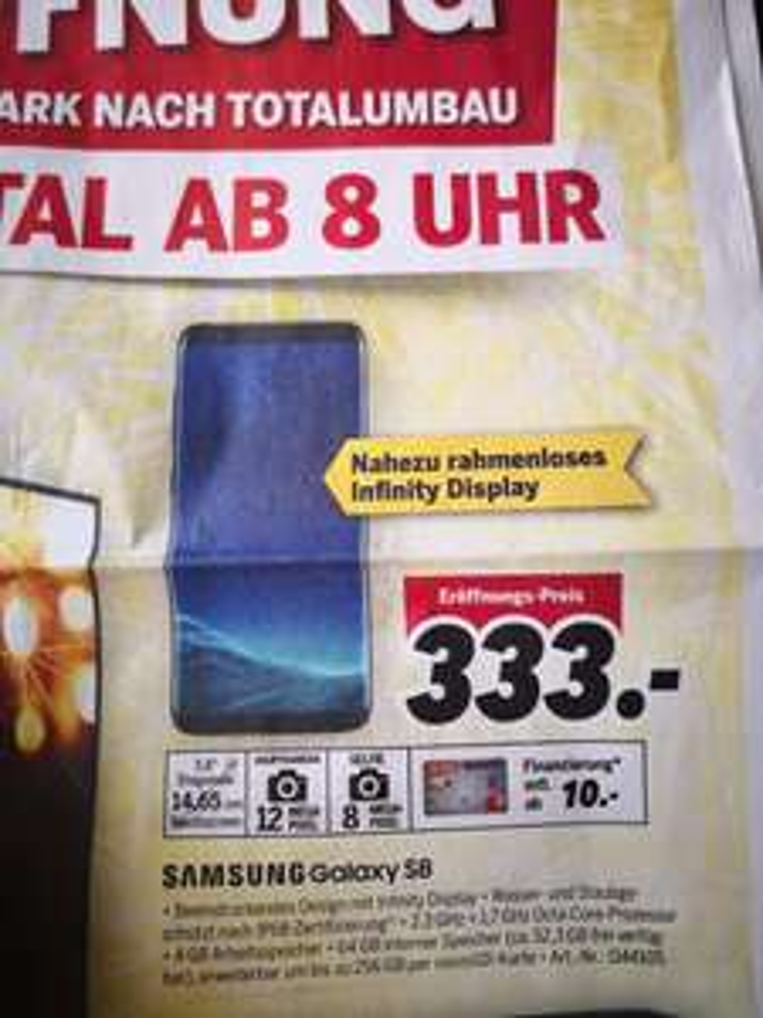 Samsung Galaxy S8 für 333 €, LOKAL Neueröffnung Medimax Weißeritzpark Freital