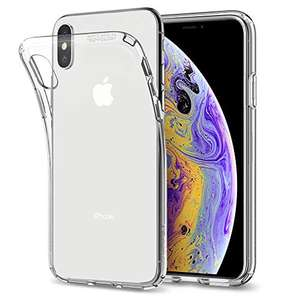 Spigen 057CS22118 Liquid Crystal Schutzhülle Case für iPhone XS / iPhone X, Transparent (Crystal Clear) + GRATIS Handyhalterung