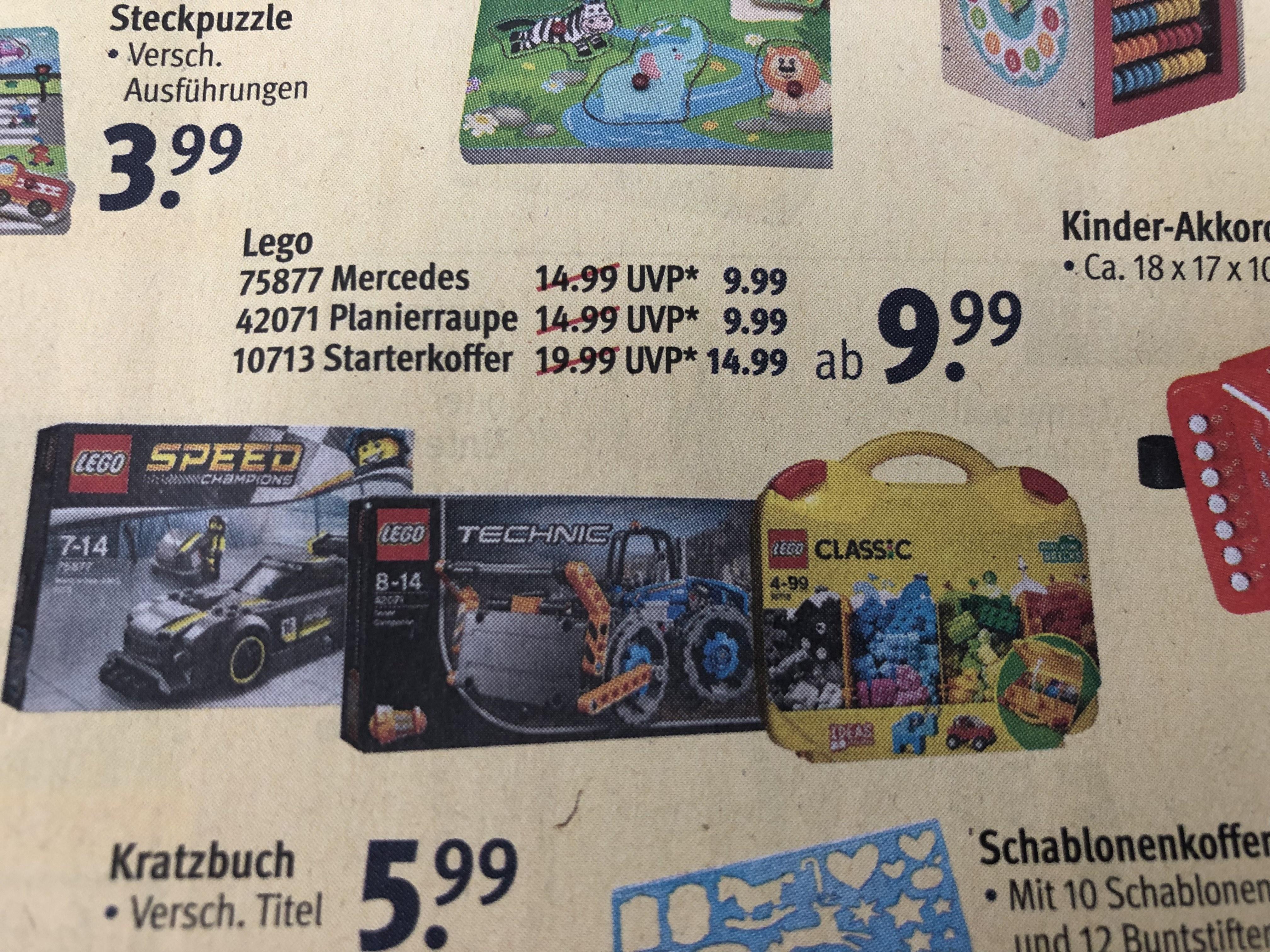 [Rossmann] Lego Mercedes 75877, Planierraupe 42071 und Starterkoffer 10713 für 8,99€/13,49€ mit 10% Gutschein