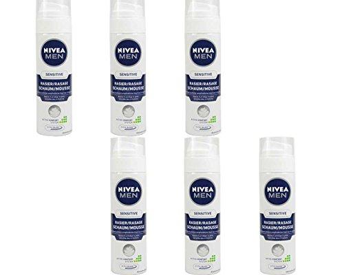 [AMAZON Plusprodukt] Nivea Men Sensitive Rasierschaum für Männer, 6er Pack (6x 200 ml)