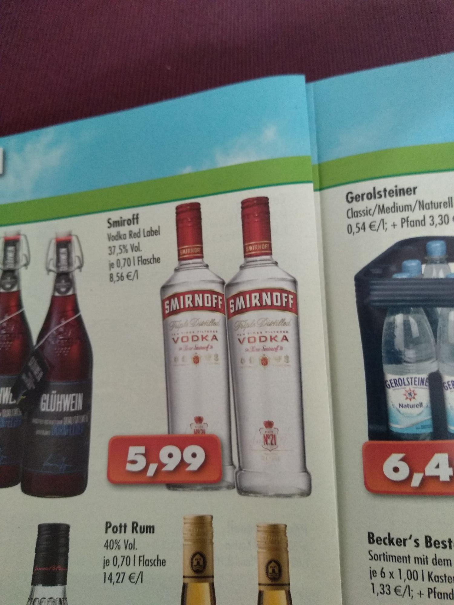 (Lokal OWL) Smirnoff Vodka 0,7l Flasche