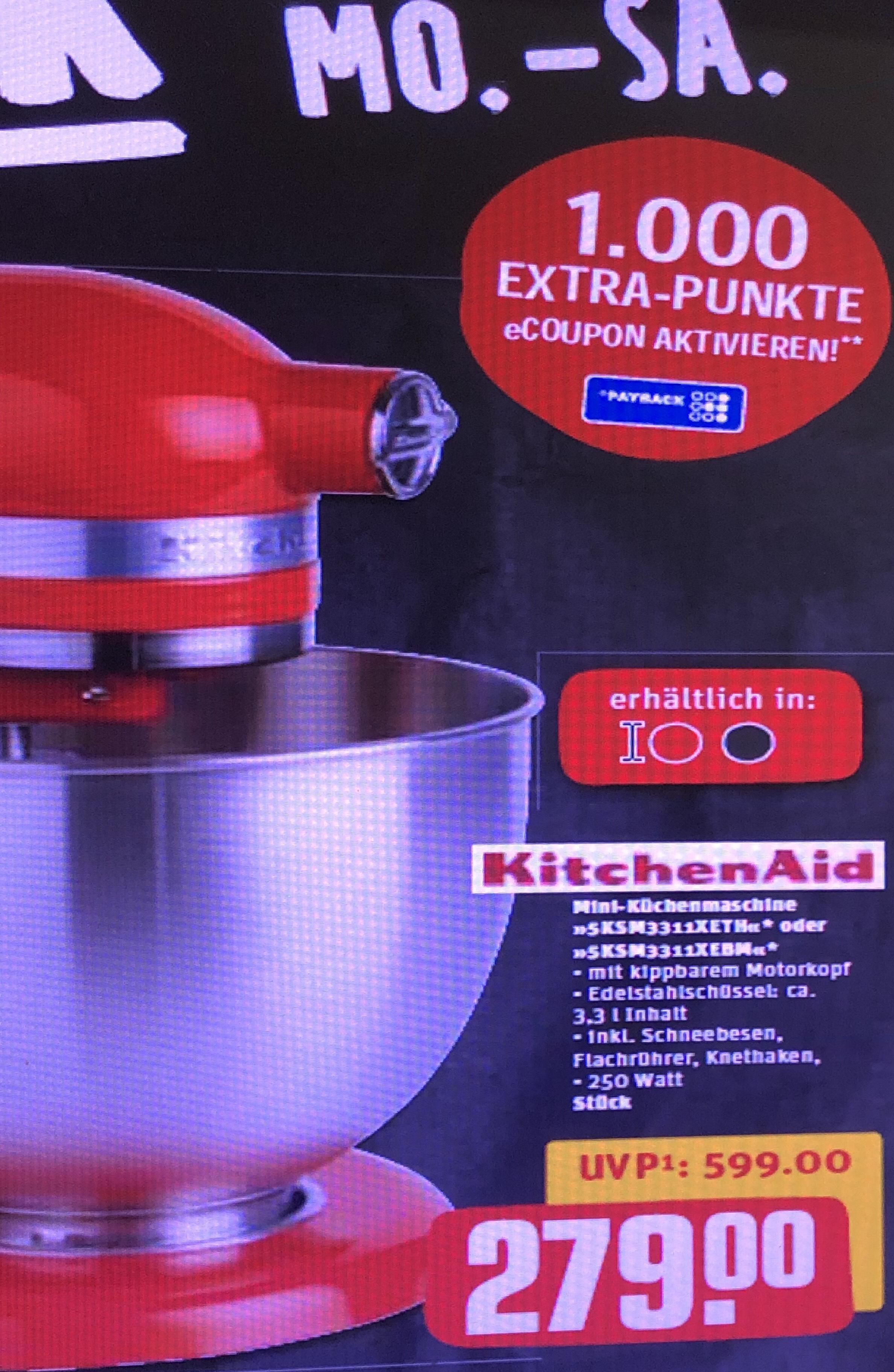 [REWE] Black Week ab 19.11. KitchenAid Mini-Küchenmaschine + 1000 Payback Punkte