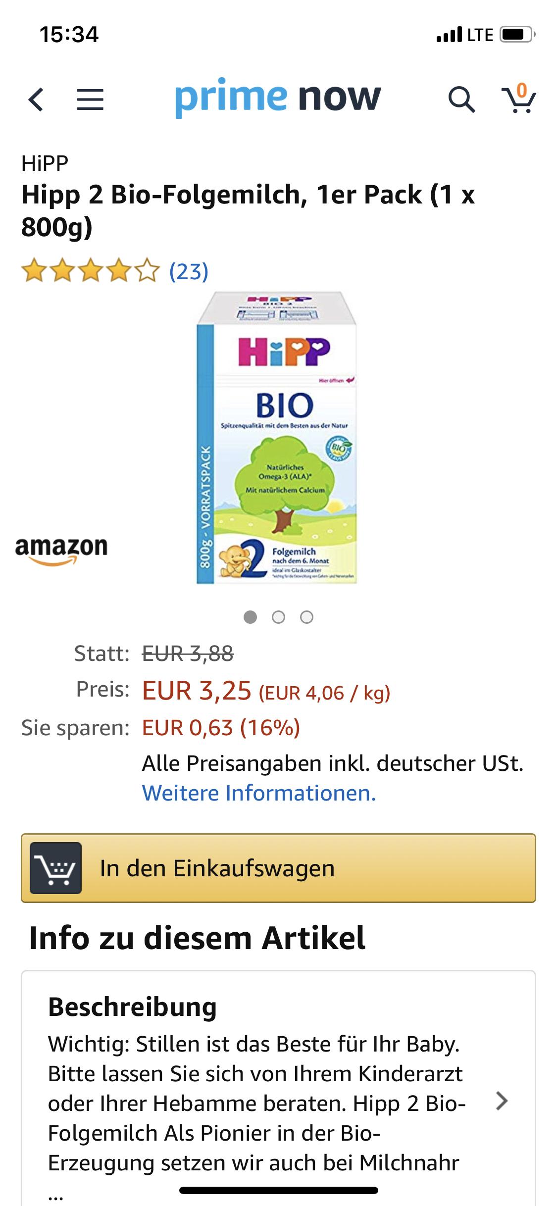 Hipp Folgemilch 2 800g Prime now[Lokal München]