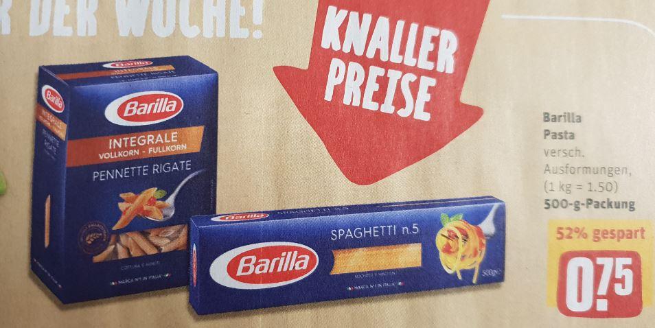 """REWE ab Montag: Barilla (500gr.) - auch Integrale für 0,75€; Lay's """"Strong"""" für 0,99€; ja! Erdnuss Chocs (500gr.) für 1,95 Euro."""
