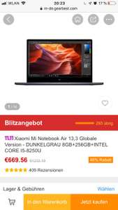 Xiaomi Mi Notebook Air 13,3 Globale Version - DUNKELGRAU 8GB+256GB+INTEL CORE I5-8250U