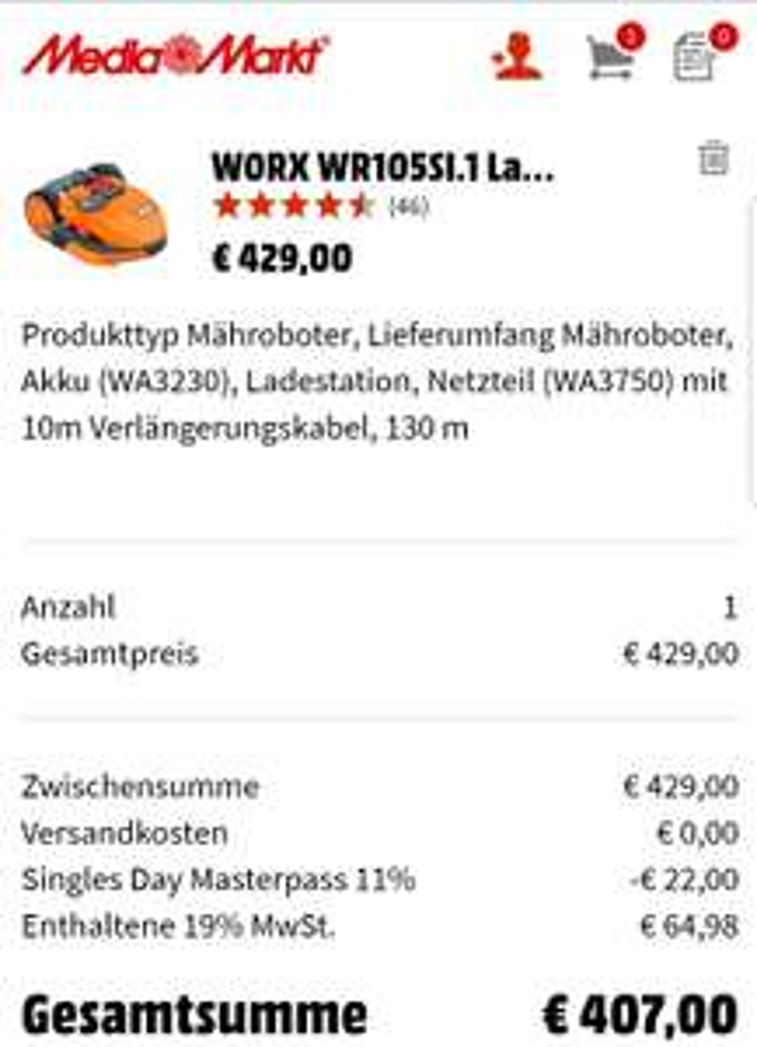 [Mediamarkt + Masterpass & Saturn/Ebay] WORX S500I Landroid, Mähroboter, 500 M², App-steuerbar, WR105SI.1