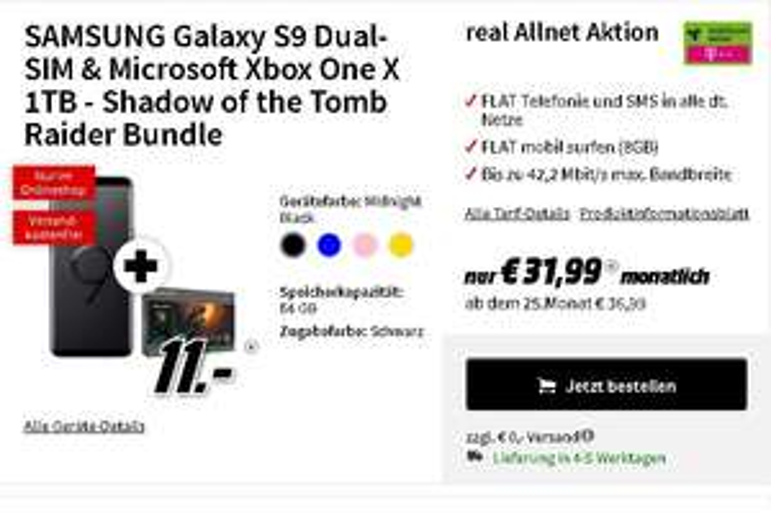 Samsung Galaxy S9 (Dual) + Microsoft Xbox One X 1TB–Tomb Raider Bundle, Telekom Allnet 8GB(!) für 31,99€/Monat