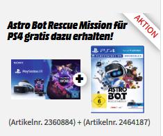 Sony PlayStation VR + Camera + VR Worlds Voucher + Astro Bot: Rescue Mission (PS4-VR) für 222€ versandkostenfrei (Media Markt Masterpass)
