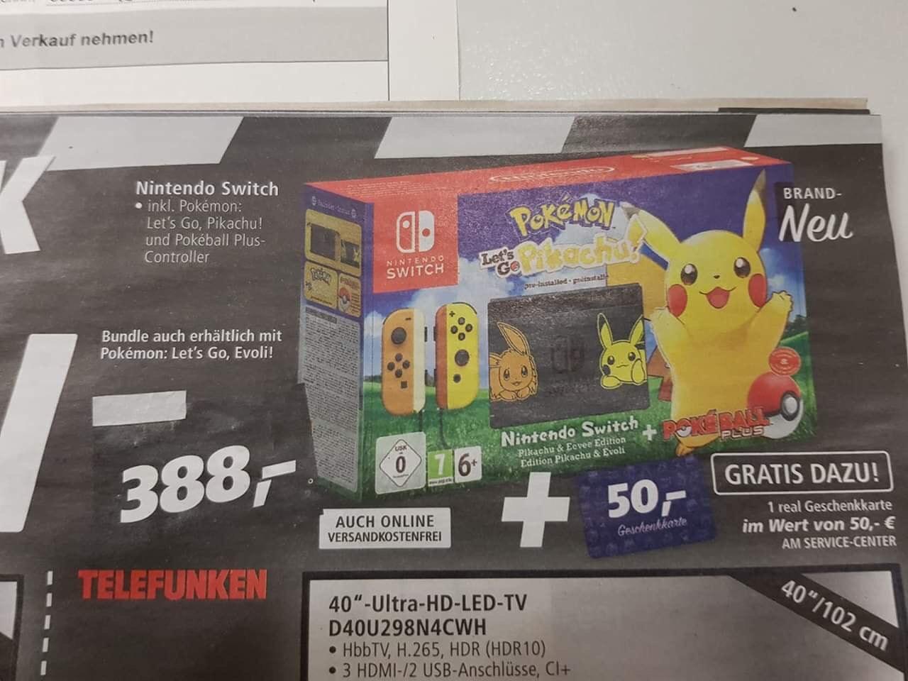Pokemon Lets Go Switch Bundle + 50 Euro Real Gutschein