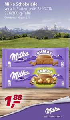 Milka Schokolade 276/300gr Tafel 1,88€ bei Real