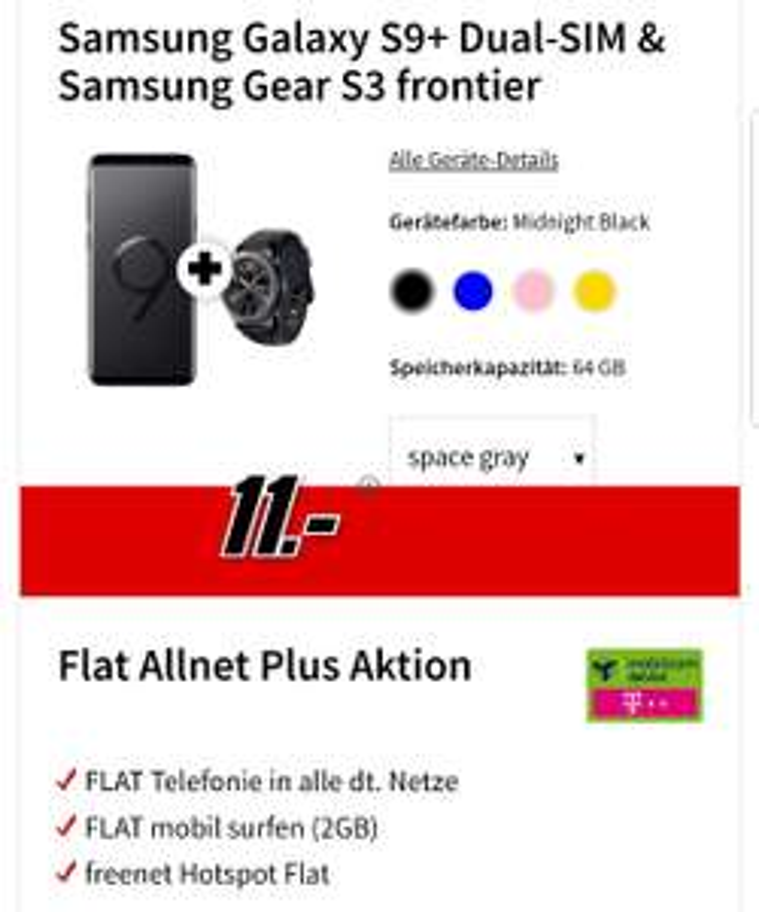 SamsungGalaxy S9+ Dual-SIM& Samsung Gear S3 frontier 2GB Telekom Flat