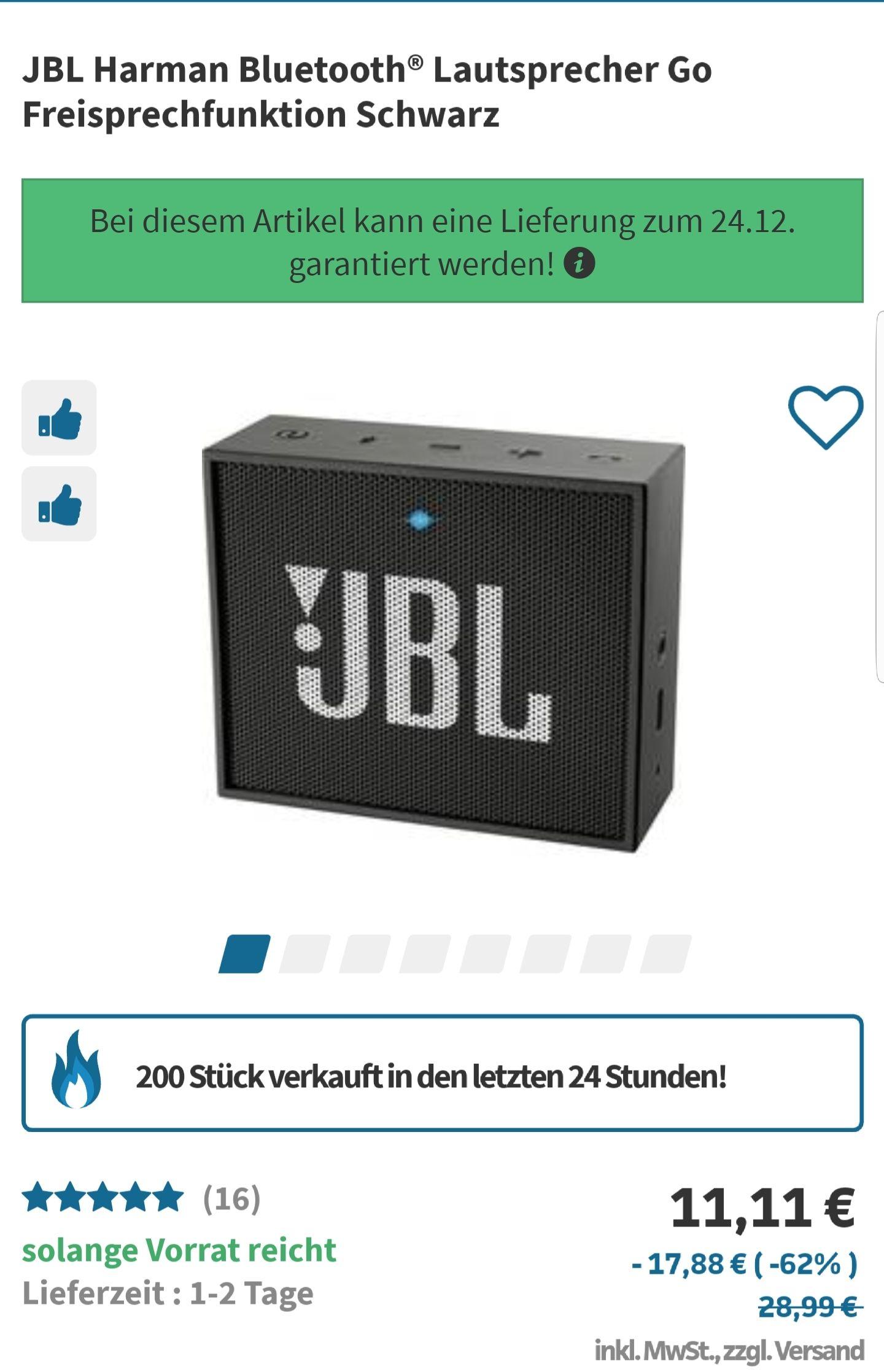 JBL GO schwarz 11,11€ [VK entfallen ab 20€]