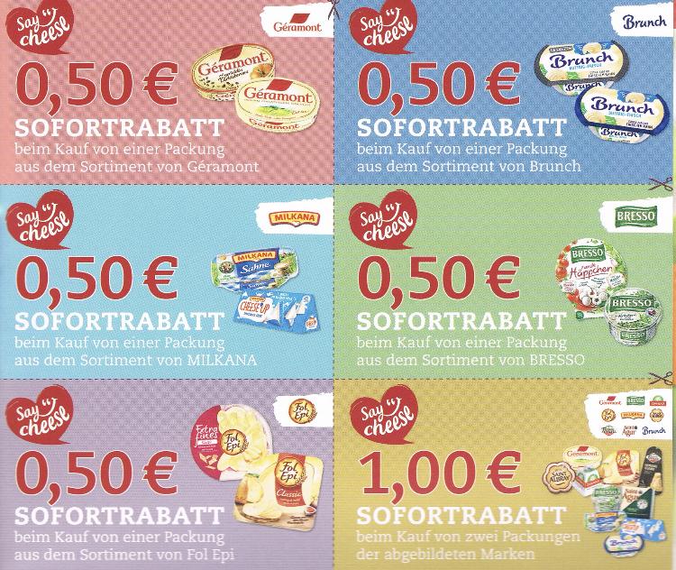 [Ich liebe Käse] 0,50 € Rabattcoupons auf Brunch, Bresso, Milkana, Geramont, Fol Epi, Saint Albray, Saint Agur, Giovanni Ferrari, Chavroux