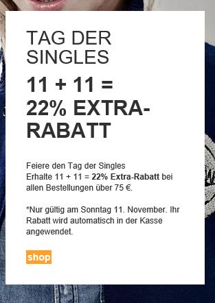 [G-STAR OUTLET]  Nur Online | Tag der Singles: 11 + 11 = 22% Extra-Rabatt (MBW75€)