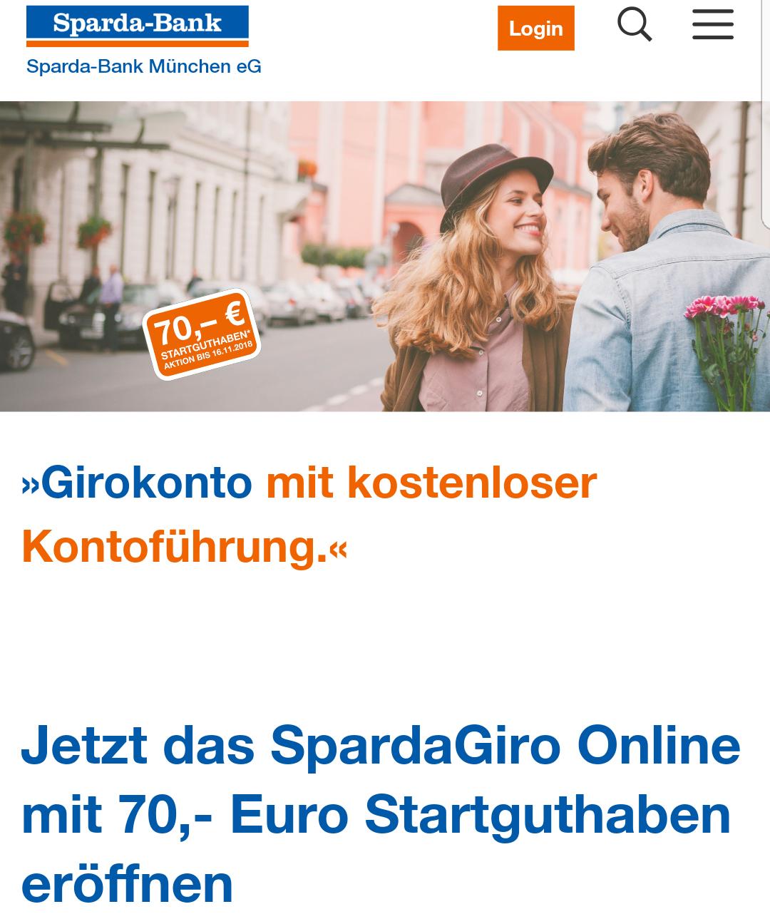 [Lokal] Sparda Bank München: Kostenloses Online Girokonto mit 70,- Euro Startguthaben