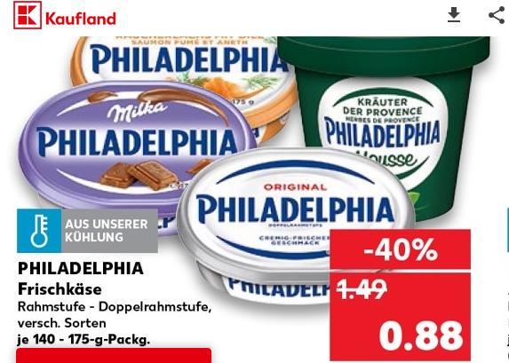 [Kaufland Bundesweit ab 15.11] Philadelphia Frischkäse dank Werbung + Coupon nur 0,38€
