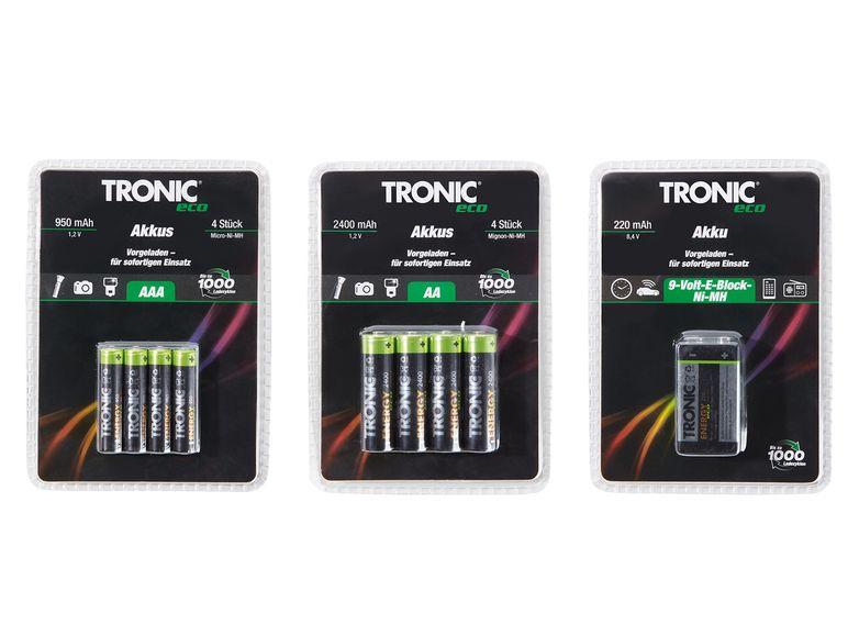 [LIDL Online + Offline] TRONIC eco Ready-to-use NiMH Akku 1x9V, 4x AA, 4x AAA (ab 15.11)