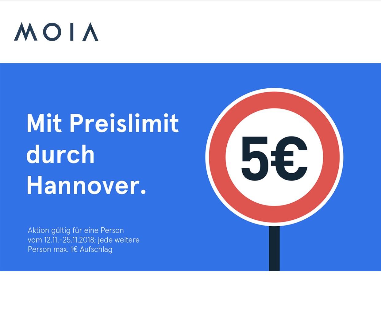 [LOKAL] Hannover    MOIA max. 5€ je Einzelfahrt!
