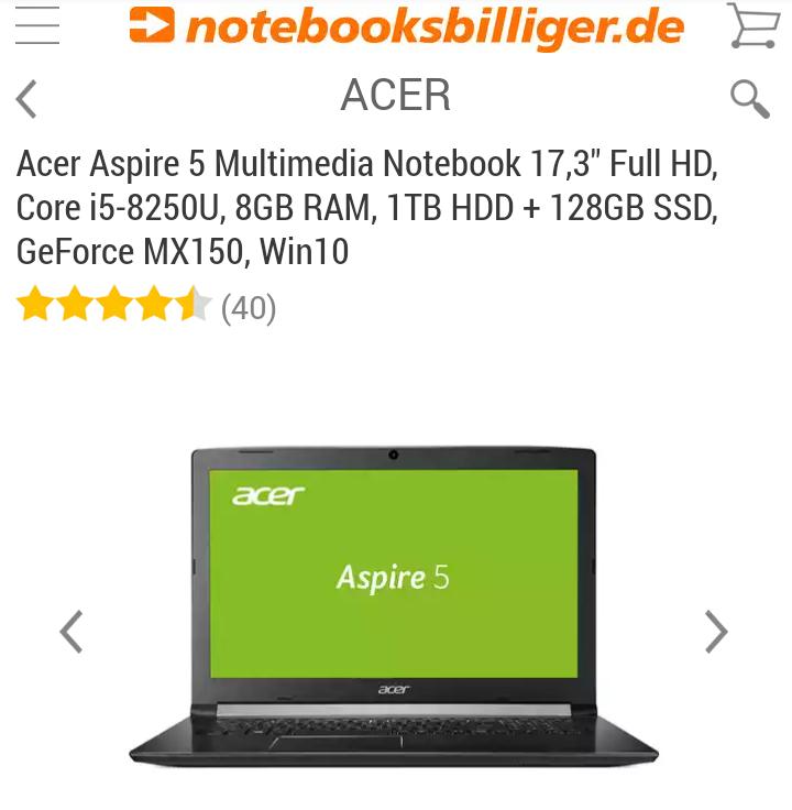 [NBB Finanzierung] ACER ASPIRE 5 17,3'', i5-8250U, 8GB, 128GB SSD + 1000GB HDD, MX 150, IPS