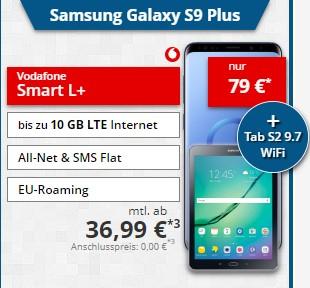 Vodafone Smart L+ (Young) (5GB/10GB LTE, Allnet & SMS-Flat) + Samsung Galaxy S9+ und Galaxy Tab S2 für 36,99€ im Monat + 79€ Zuzahlung