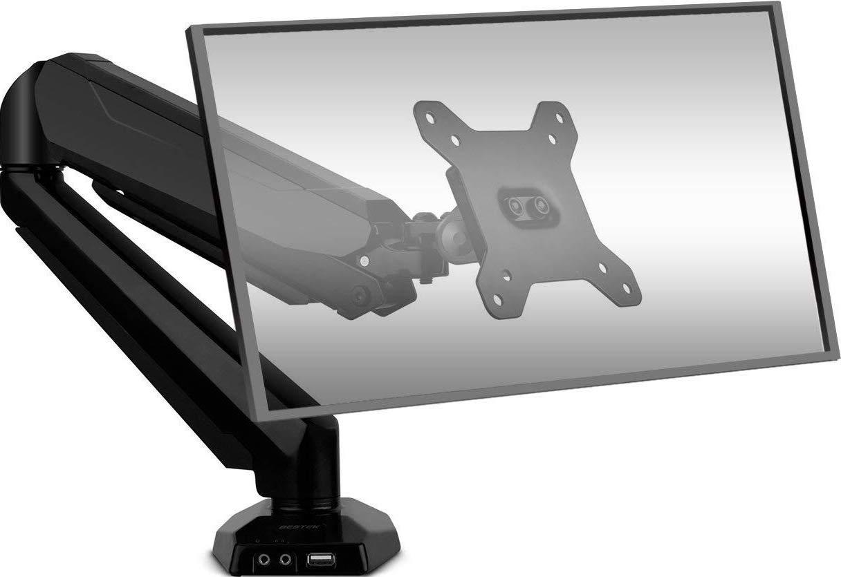 """Bestek Monitortischhalterung mit Gasfeder für einen Bildschirm (75x75 oder 100x100 VESA-Halterung, max. 27"""" und 8 kg)"""