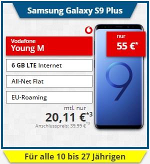 Vodafone Young M mit 6GB LTE max & Samsung Galaxy S9+ (auch GigaKombi) - effektiv 9,49€/Monat bzw 74 Cent/Monat (Gigakombi) nach Verkauf