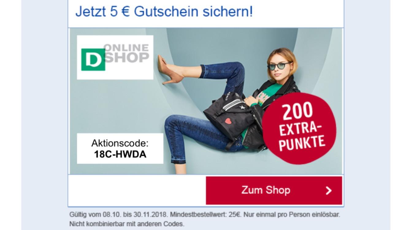 Deichmann 5€ Rabatt Gutschein und 200 extra Punkte (Payback App)