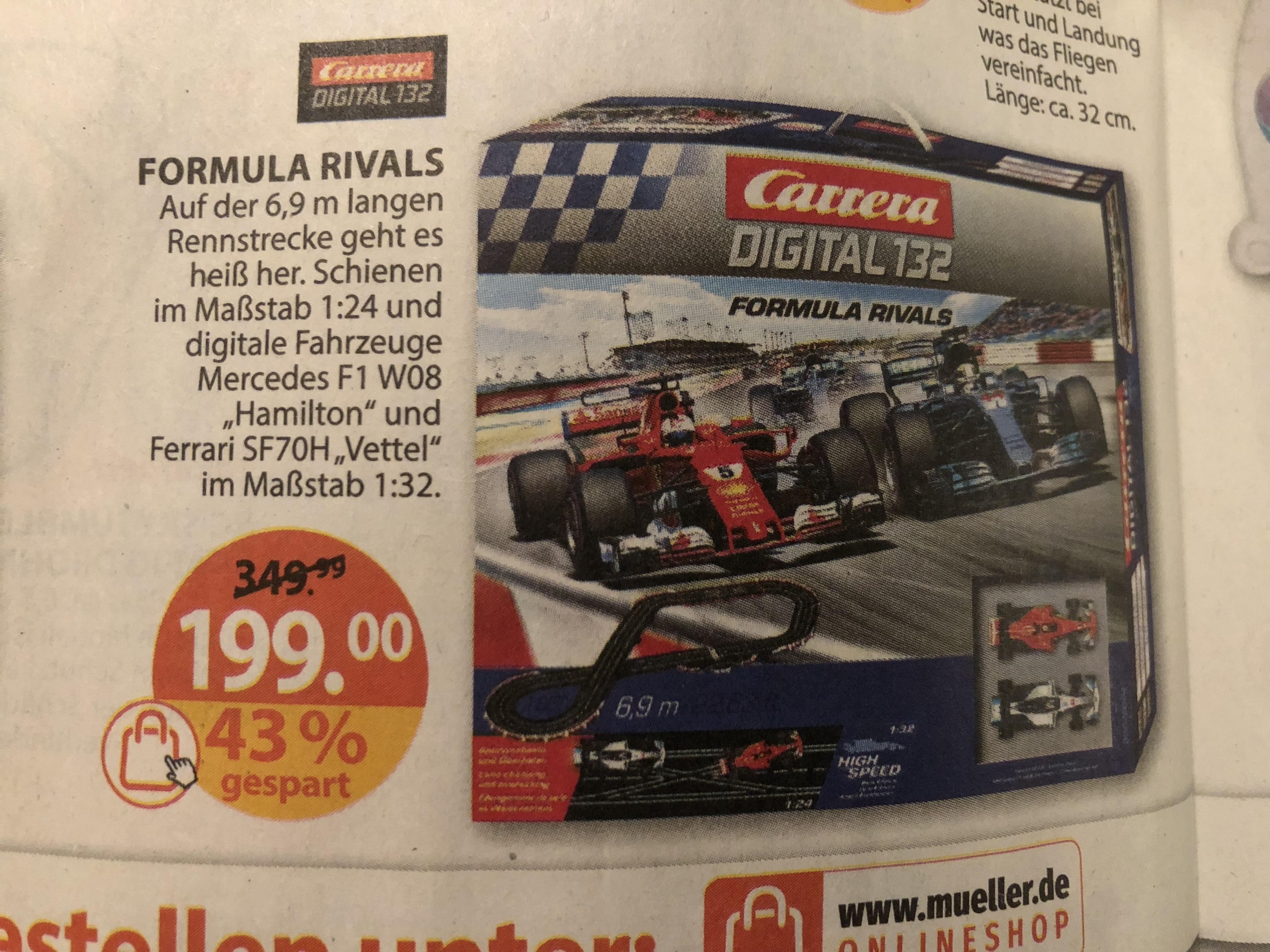 [Müller] Carerra Digital 132 Formula Rivals 169,15€ / Carrera Go Cars 3 Finish First 46,74€ nur 10% von ROSSMANN oder Douglas