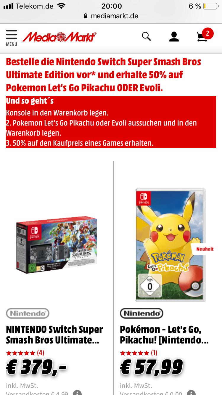 Nintendo Switch super smash + 50% auf Pokémon
